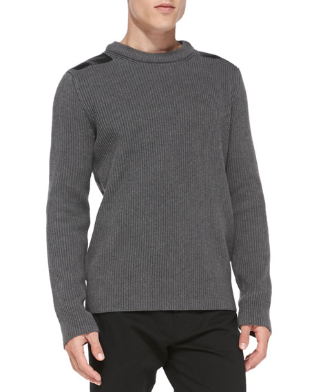 Ribbed Sweater with Leather Shoulder Patch, Gray