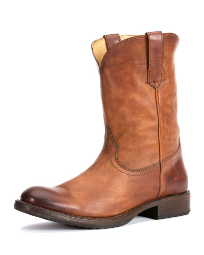 Duke Leather Roper Boot, Tan