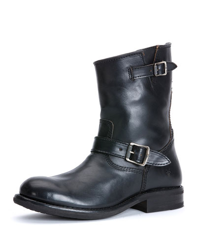 Sutton Leather Engineer Boot, Black