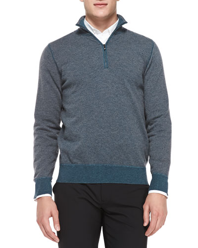 Roadster Birdseye Half-Zip Cashmere Sweater, Blue