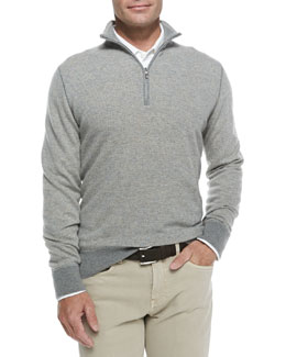 Loro Piana Roadster Half-Zip Cashmere Sweater, Silver