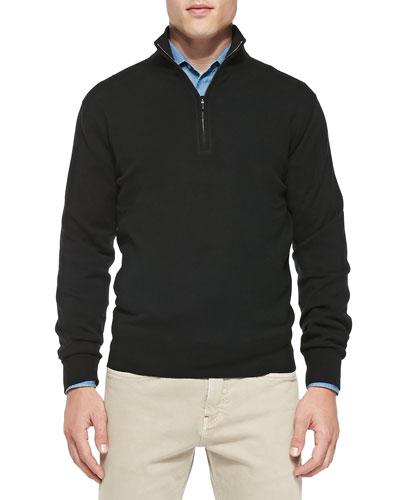 Cashmere Half-Zip Sweater, Black