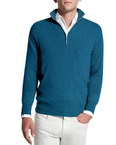 Baby Cashmere Half-Zip Sweater, Blue Melange