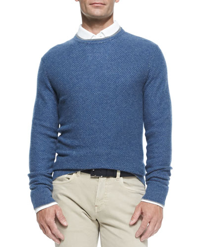 Girocollo Cashmere Crewneck Sweater, Ocean Blue