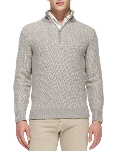 Diagonal-Jacquard Cashmere Pullover, Natural