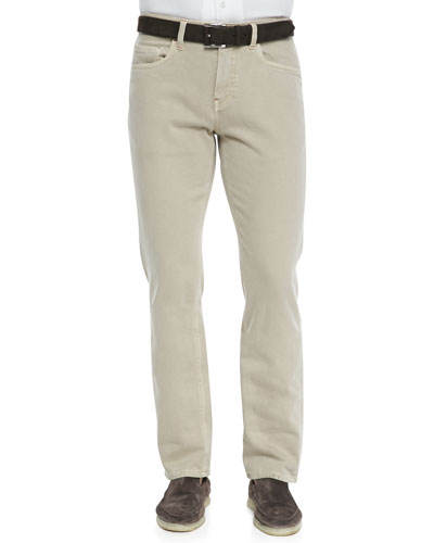 Loro Piana 5-Pocket Denim Jeans, Light Nougat
