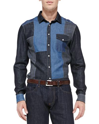 Etro Denim Patch Shirt, Blue Multi