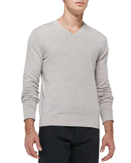 Theory Leiman V-Neck Cashcotton Sweater, Gray