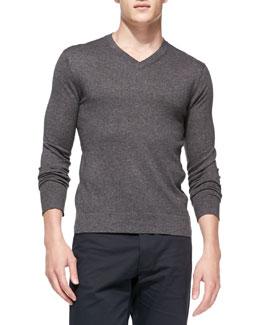 Theory Leiman V-Neck Cashcotton Sweater, Charcoal