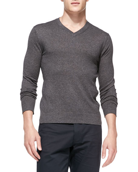 Leiman V-Neck Cashcotton Sweater, Charcoal