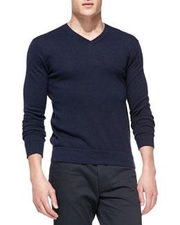 Theory Leiman V-Neck Cashcotton Sweater, Navy