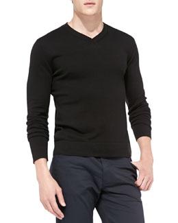 Theory Leiman V-Neck Cashcotton Sweater, Black