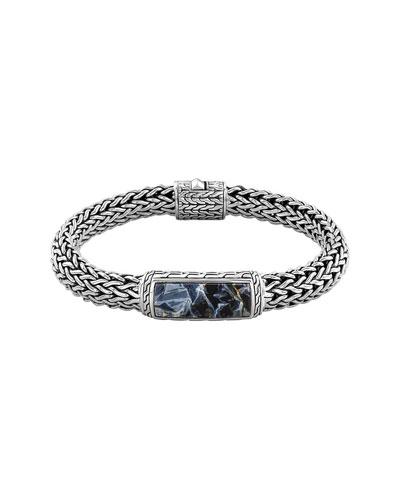 Men's Batu Classic Chain Silver and Blue Pietersite Bracelet
