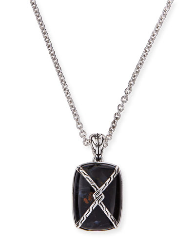 Men's Batu Classic Chain Silver Knot Chain Dogtag Necklace