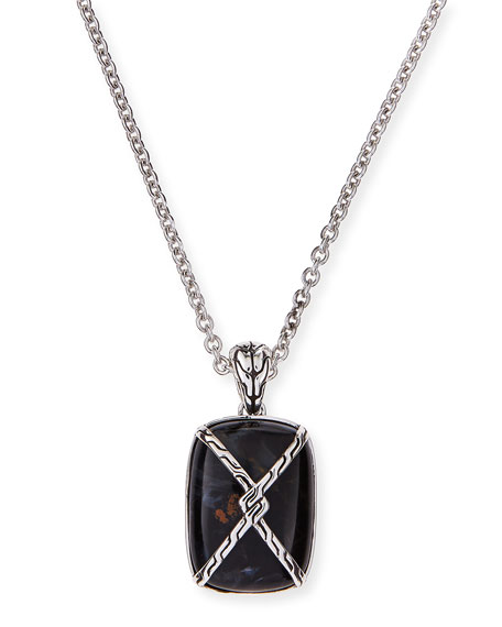 John Hardy Men's Batu Classic Chain Silver Knot Chain Dogtag Necklace