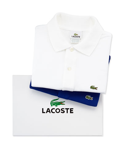 Short-Sleeve Pique Polo Box Set, White/Blue