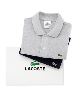 Lacoste Short-Sleeve Pique Polo Box Set, Silver & Navy