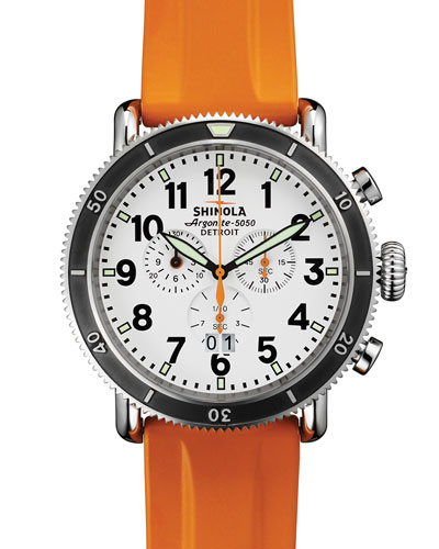 Shinola 48mm Runwell Sport Chronograph Watch with Rubber Strap, Orange