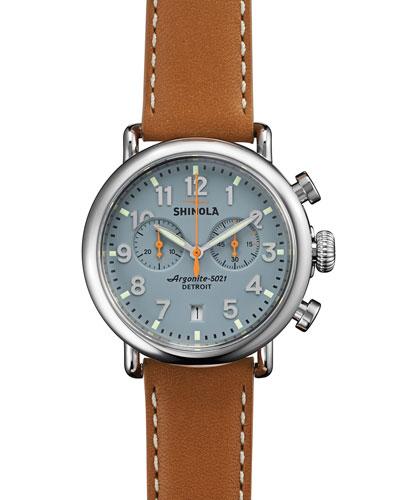 Shinola 41mm Runwell Chrono Watch, Light Brown/Gray