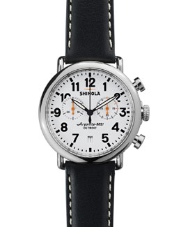 Shinola 41mm Runwell Chrono Watch, Black/White
