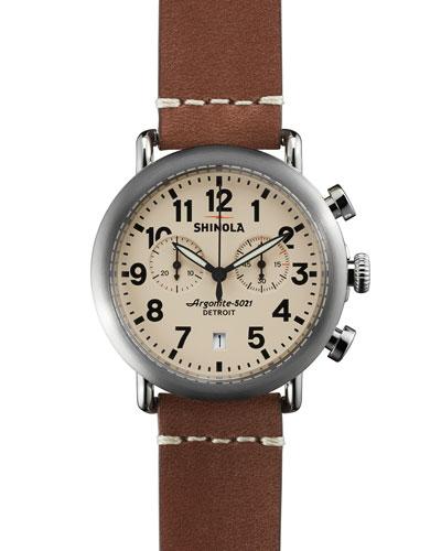 Shinola 41mm Runwell Chrono Watch, Dark Brown