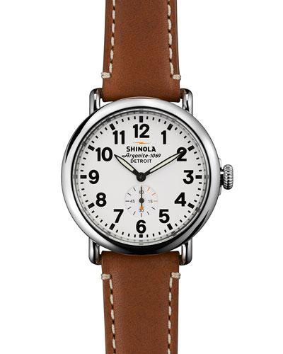 Shinola 41mm Runwell Men's Watch, Brown/White