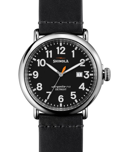 Shinola 47mm Runwell Leather Watch, Black