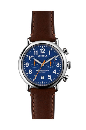 Shinola Men's 41mm Runwell Chrono Watch, Dark Brown/Blue