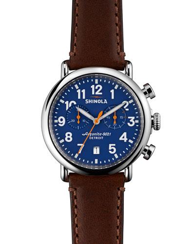 Shinola 41mm Runwell Chrono Watch, Dark Brown/Blue