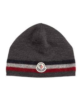 Moncler Cashmere Striped Logo Skull Cap, Charcoal