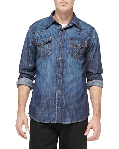 True Religion Jake Stretch-Denim Western Shirt