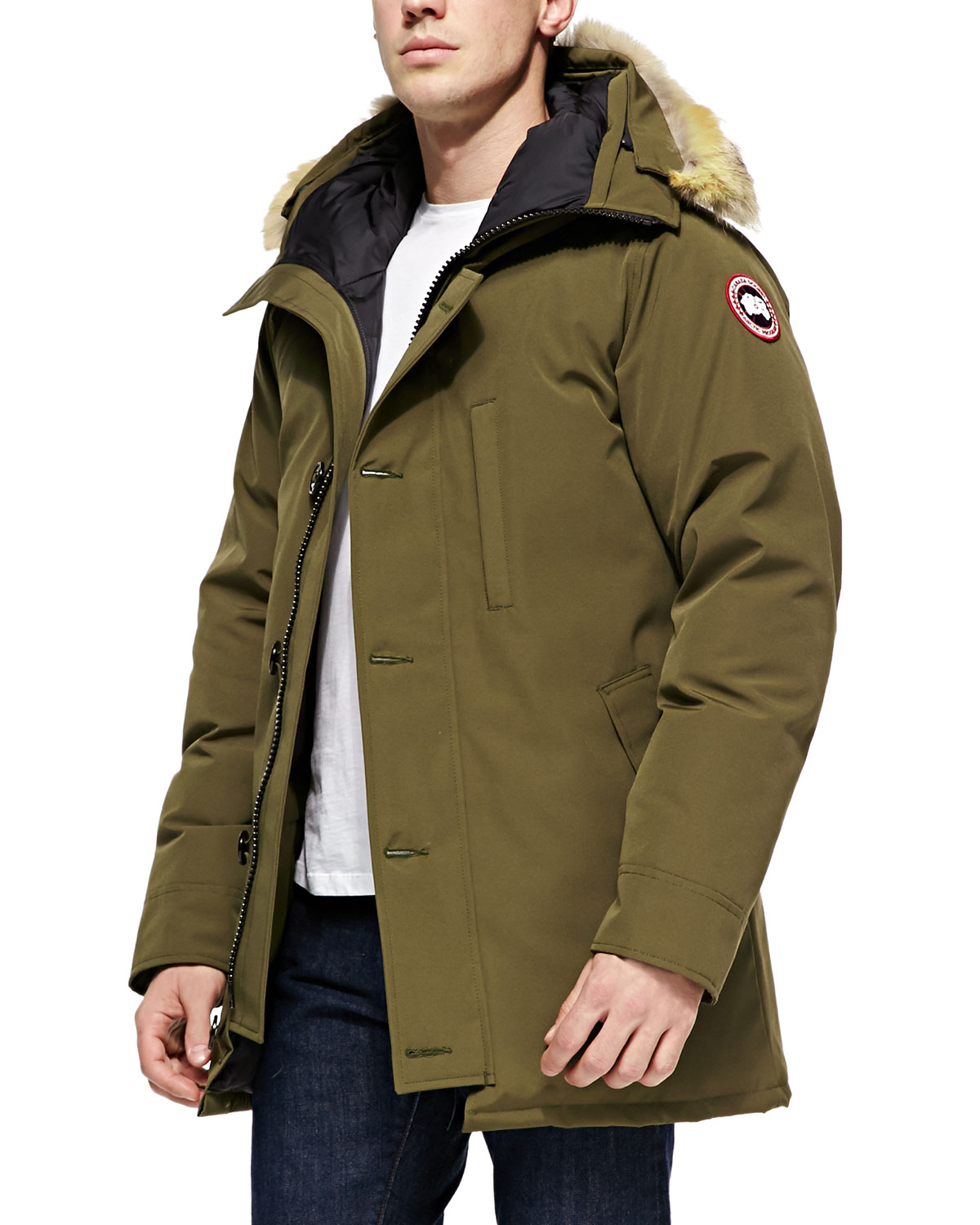 Chateau Arctic-Tech Parka with Fur Trim, Military Green