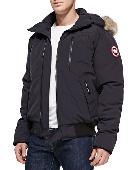 Canada Goose mens online store - Canada Goose Borden Fur-Hood Bomber Jacket, Navy