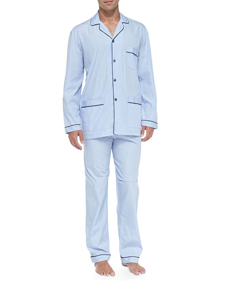 Neiman Marcus Long-Sleeve Cotton PJ Set, Blue