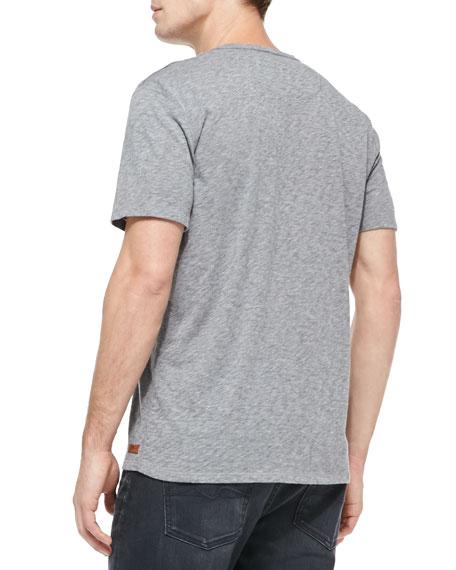 Raw-Edge V-neck Tee, Gray