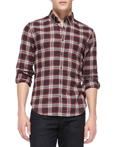 7 For All Mankind Plaid Button-Down Shirt, Crimson
