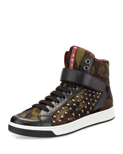 Prada Camouflage High-Top Nylon Sneaker, Green