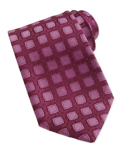 Medallion Pattern Silk Tie, Burgundy/Pink
