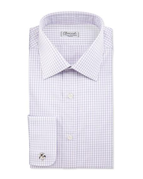 Charvet check french cuff dress shirt lavender white for Purple french cuff dress shirt