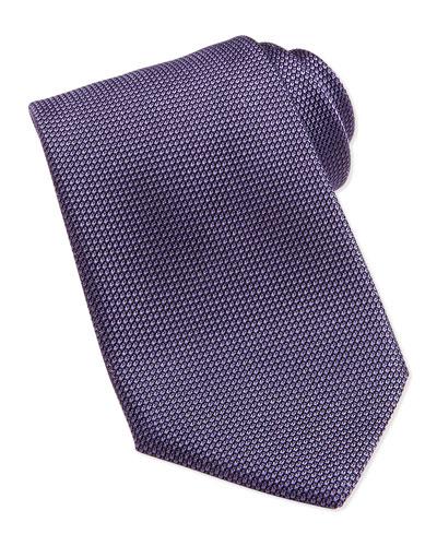 Gauze-Pattern Silk Tie, Purple