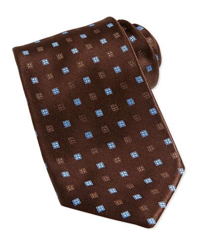 Neat Square Silk Tie, Brown/Light Blue