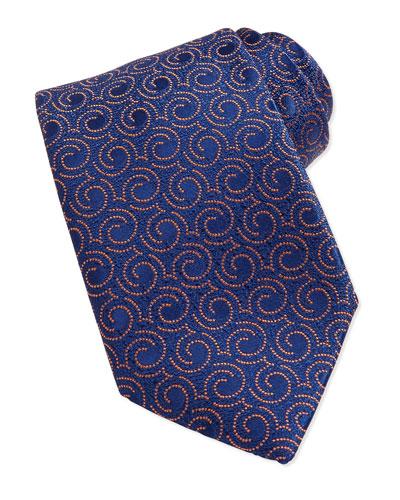 Swirl Pattern Silk Tie, Blue/Orange