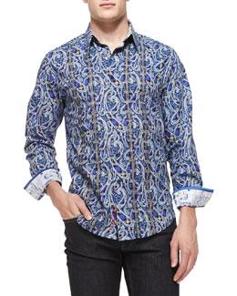 Robert Graham Hillstone Paisley and Plaid Sport Shirt