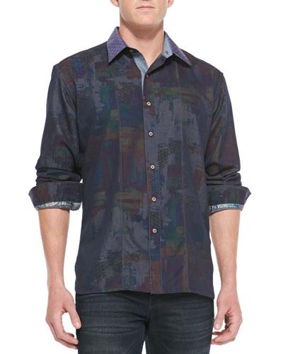 Robert Graham Pourhouse Abstract-Print Sport Shirt, Blue