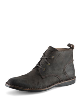 Andrew Marc Dorchester Canvas & Leather Chukka Boot, Dark Brown
