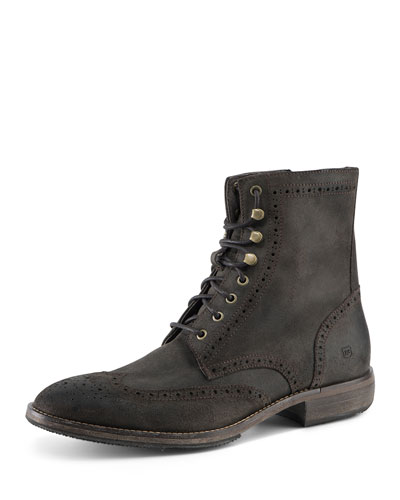 Hillcrest Perforated Detail Suede Boot, Dark Brown