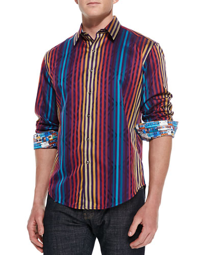 Robert Graham Palladium Striped Jacquard Sport Shirt