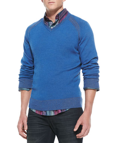 Robert Graham Wool/Cashmere V-Neck Sweater, Blue