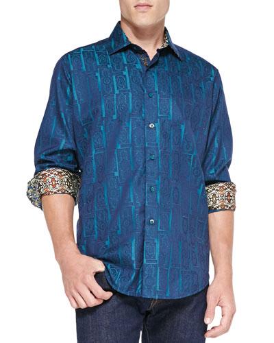 Robert Graham Marquies Jacquard Sport Shirt, Blue