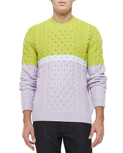 Colorblocked Cable-Knit Sweater